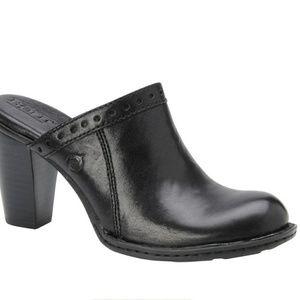 Born Lella Black Leather Clog Shoes W31645 SZ 8
